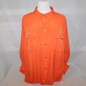 Jones New York Womens 20W Orange Blouse